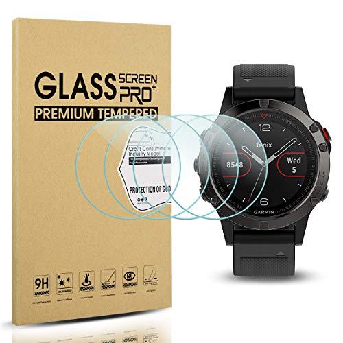 [4 Stück] Diruite für Garmin Fenix 5 Panzerglas Schutzfolie, HD Glas Displayschutzfolie für Garmin Fenix 5 Intelligente Uhr [Anti-Kratzen] [Anti-Öl] [Keine-Blasenfrei]