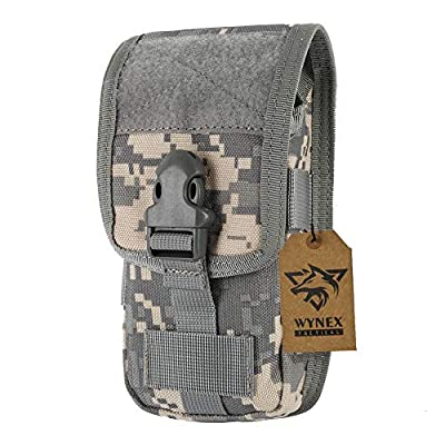 WYNEX Smartphone Molle Pouch, Smartphone Holster,Tactical Accessories Small Gadget Gear Bag EMT EDC Pouches Modular Army Utility Pocket Waterproof Suit for Tactical Belt 1000D Nylon (ACU Camo)