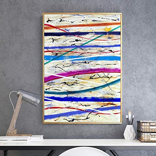 GUDOJK Dekorative Malerei Art-Zusammenfassungs-Plakat-Farbstreifen-Tintenstrahl-Segeltuch-Malerei-Wand-Künstler-Ausgangsdekorations-Wand-Aufkleber können besonders angefertigt werden-60x80cm
