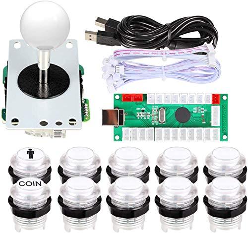 EG STARTS 1 Spieler USB LED Encoder zu PC-Spiele 8-Wege-Stick-Controller + 10x LED beleuchtet Tasten für Arcade Joystick DIY Kits Teile Mame Raspberry Pi 2 3 Spiele Weiß