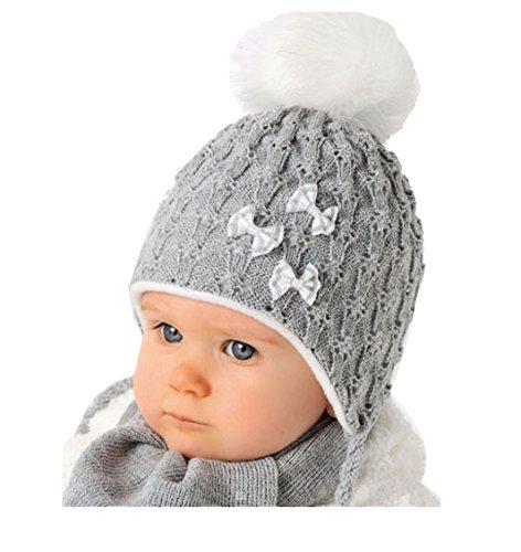 AJS Baby Winter Mütze Mädchen Babymütze schal Größe 40/42 Weiß Grau oder Rosa 0 bis 6 Monate alt mit Glitzer-Faden (40/42, Grau)