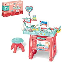 Wodtoizi Kids Doctor Dentist Kit Toy with Table & Chair