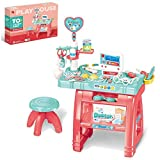 wodtoizi Kids Doctor Dentist Kit Toy w Table and Chair Dentist Medical Playset Pretend Play Set w Sounds and Lights Boys Girls Toddler Birthday School Classroom Party Role Play Toys
