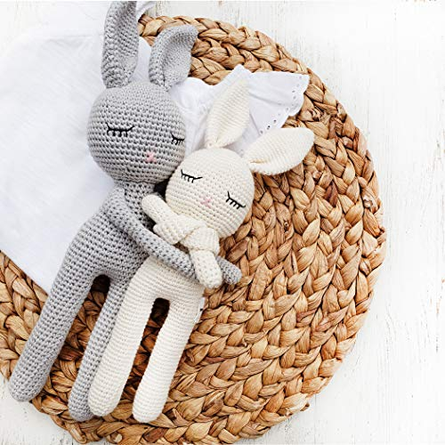 Natural Crochet Bunny Rattle 'Sleepy Head Bunny' Toy Doll for Baby First Stuffed Animal Friend Amigurumi Crochet Sleeping buddy Security Blanket Newborn Photo Prop(White Sleepy Bunny)