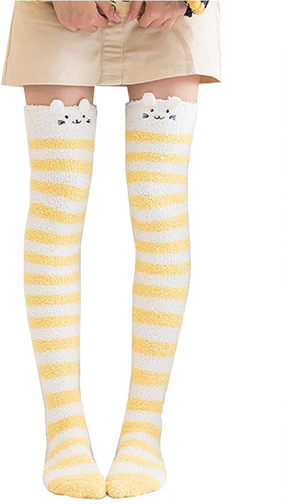 Girl's Leg Warmers Soft Warm Animal Coral Fleece Thigh High Long Striped Socks, Best Christmas Gift