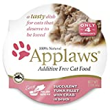 Applaws Succulent Tuna Fillet with Crab Cat Food Cups, 100% Natural, 18 x 2.12 oz