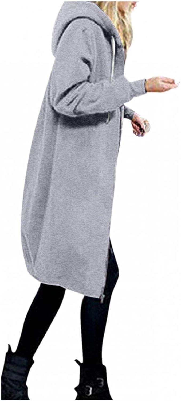 Toeava Women's Casual Zipper Hoodies Long Sweatshirts Tunic Jackets Coat Fashion Plus Size Hoodie Outwear with Pockets
