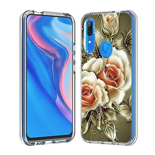 Hülle für Huawei P Smart Z (Hartplastik + Weich TPU Silikon Bumper) Ultradünne Stoßfest Schutzhülle Transparent Cover Case (Rose)