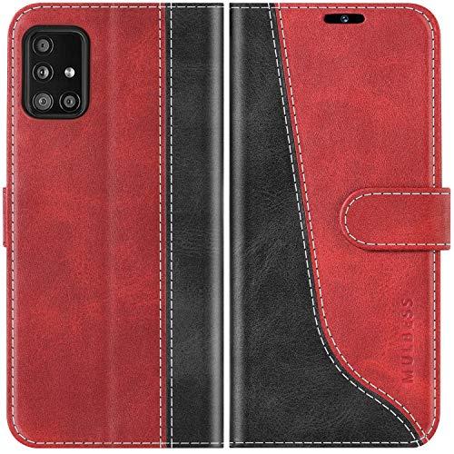 Mulbess Funda para Samsung A51 5G, Funda con Tapa Samsung Galaxy A51 5G, Funda Samsung Galaxy A51 5G Libro, Funda Cartera para Samsung Galaxy A51 5G Carcasa, Vino Rojo