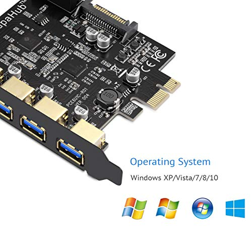 SupaHub PCI-E to Type C (1), Type A (4) USB 3.0 5-Port PCI Express Expansion Card, Capable of Expanding + 2 USB 3.0 Ports with Internal 19-Pin Connector, Includes Drivers & Power Cables