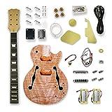 BexGears DIY Electric Guitar Kits Flame Mahogany veener top Hollow okoume wood body maple neck & composite ebony fingerboard You Build The Guitar