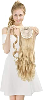 SEIKEA Clip in Ponytail Extension Wrap Around Pony Tail 24 Inch Curly Hair - Blonde with Highlight