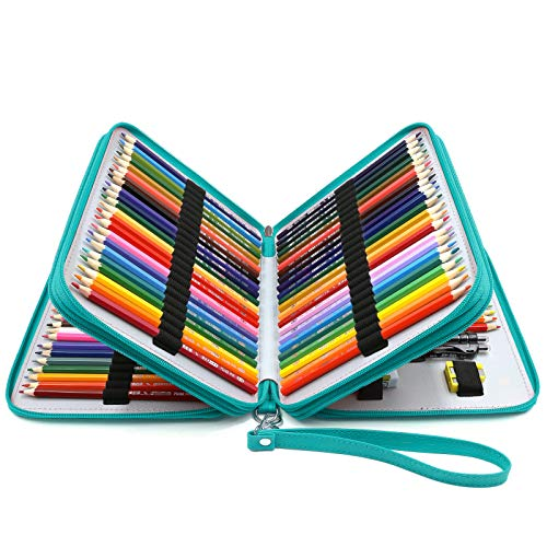 YOUSHARES 120 Slots Pencil Case - PU Leather Handy Large Multi-layer Zipper Pen Bag with Handle Strap for Prismacolor Watercolor Pencils Crayola Colored Pencil Marco Pens Cosmetic Brush Turquoise