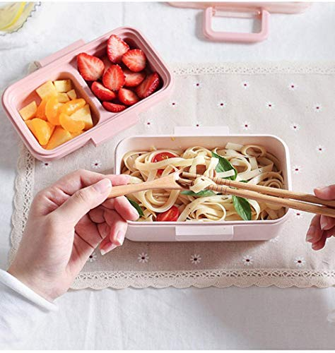 Bento Box Bamboe Fiber Lunch Box Middag Thee Snack Box Kantoor Worker Student Lunch Box Fruit Box roze