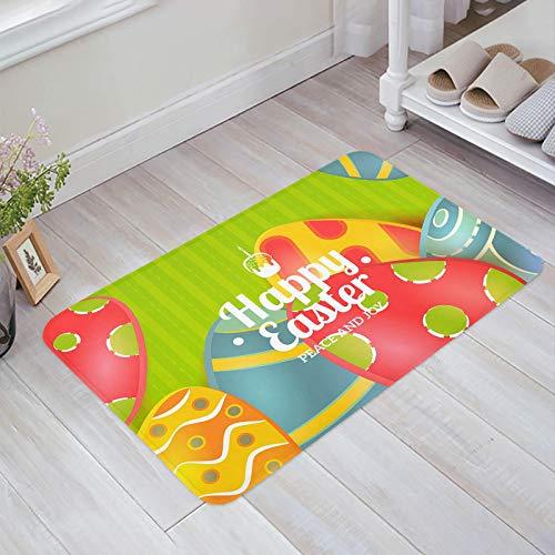 Alfombra estera del piso Tapetes Felpudo Felices Pascuas Huevos Florales Paz y Alegría Rayas Verdes Textura alfombras 40X60CM