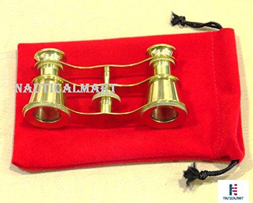 Latón Opera gafas Theater Vintage prismáticos en rojo funda