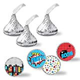 """Super Hero Comic Book Birthday Party Kiss Sticker Labels For Boys, 300 Party Circle Sticker sized 0.75"""" for Chocolate Drop Kisses by AmandaCreation, Great for Party Favors, Envelope Seals & Goodie Bags"""