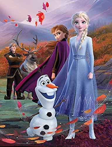 Disney Frozen 2 Kinder-Zimmer-Teppich Fairytale 100 cm x 133 cm rutschhemmend lärmhemmend Kinderteppich Spiel-Teppich Spielunterlage Mädchen-Teppich Anna ELSA Olaf Sven Kristoff Arendelle Nokk
