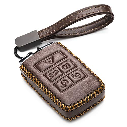 Vitodeco Genuine Leather Smart Key Fob Case Cover Protector with Leather Key Chain for 2017-2019 Land Rover Discovery, Range Rover (5-Button, Brown)