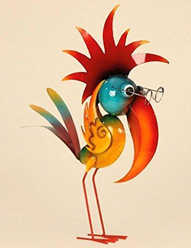 Riesen Metall Figur exotischer bunter Vogel 57cm Garten Dekoration Vogelscheuche schlauer Vogel
