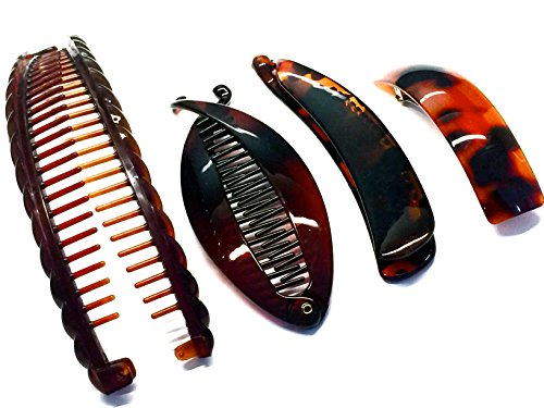 La Peach Fashions Great Value Pack Of Large Banana Comb Fish Comb Plain Banana Clip And A Plain Barrette Lovely Set Of Four Ladies Hair Styling Hair C