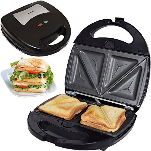 Syntrox Germany Edelstahl Maker Sandwichmaker Chefmaker SM-1300W Sandwich Delight mit herausnehmbaren Backplatten zum Tauschen