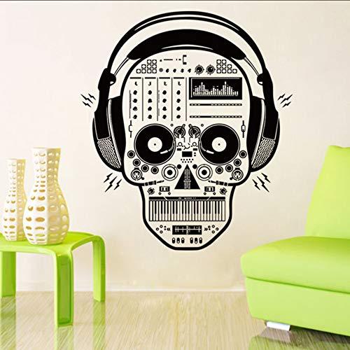 Makeyong Musik Schädel AufkleberHorrifying Halloween Decals Hintergrund Und Windows Dekor Von Home Shop Und Halloween Party58X65Cm