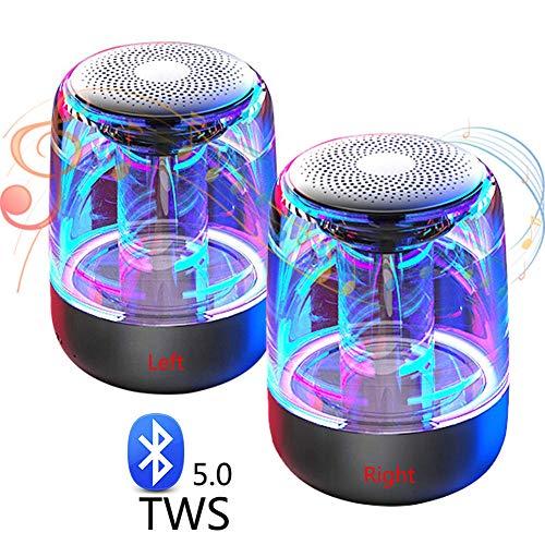 Speaker-EJOYDUTY 2-Pack Pocket Size TWS Bluetooth 5.0-luidspreker met LED-lichtshow, mini draadloze luidspreker in Mic Bouwen, voor iPhone, Samsung, iPad, computer en cadeau van de kinderen