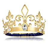 DcZeRong Adult Men Birthday King Crown Large Size Crowns Gold Homecoming Costume Prom King Crowns Metal Tall Crown Male Birthday King Crowns