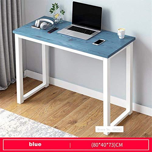 LOH 80/100/120 / 140cm Tablero Marco de Acero Oficina Ordenador Mesa para el hogar Económico, 80cm Azul