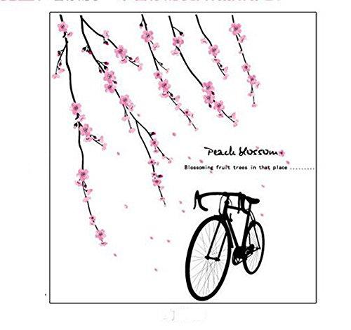 SYT Wall Stickers TV Fond Mur Autocollant Romantique Chambre décoration Fleur vélo Amovible TV Fond Mur Autocollant