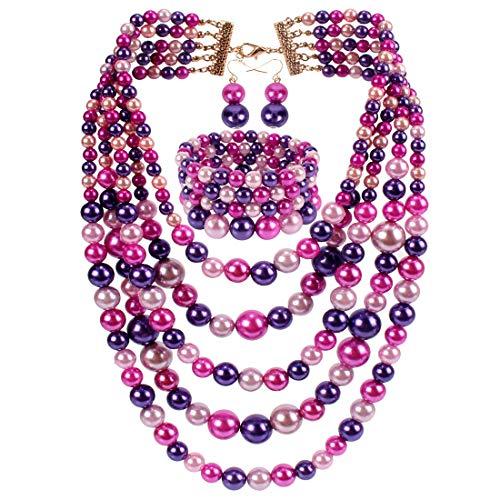 KOSMOS-LI Faux Pearl Strands Necklace Bracelet Earrings Set Purple Mix Tone Retro Themed Party Costume Jewelry Set