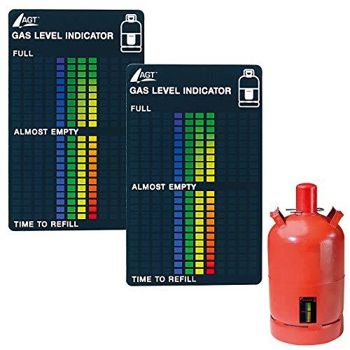 AGT Gasmesser: 2er-Set Gasstand-Anzeiger für Gasflaschen, 22-stufige Skala (Gasstandanzeiger)