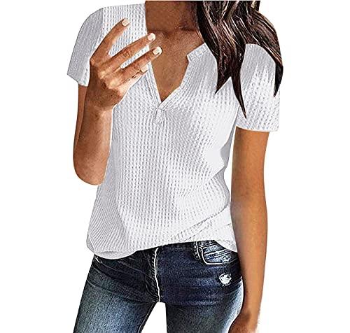 Damen V-Ausschnitte Bluse Kurzarm Sommerbluse Oberteile T-Shirt Lose Tunika Shirt Waffel Strick Hemdbluse Elegant Sommershirts Damenblusen (Weiß, M, m)