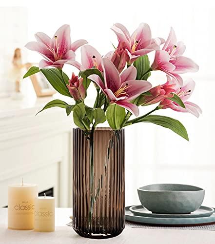 Glasvase, Nordische minimalistische kristallklare Blumenvase Dekorative Vase Römische Säulenvase Blumenarrangement Dekoration Ornamente für Home Office Dekor, Geschenk für Hochzeit, Einweihungsparty