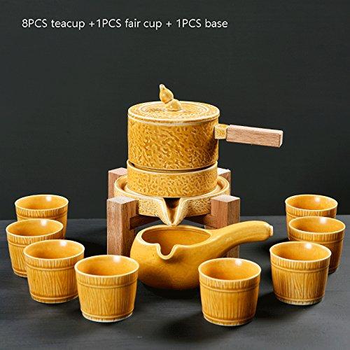 CUPWENH Vintage Semi-Automatico Mulino In Pietra Ware 8Pz Tazzina 1Pz Fair Tazza 1Pz Tè Pentola 1Pz Kit Base Ceramica Creative Anti-Scotti Set Da Tè,D