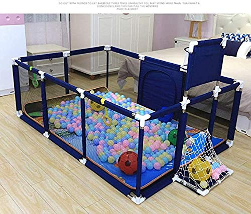 Portable Baby Playpen Indoor Home Ocean Ball Pool, Baby Kids Crawling Baby Mat, Toddler Safety Fence, Child Protective Playpen, 120X180X62CM (Color : Blue)