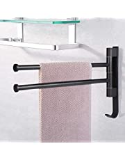 Handdoek Bar zonder boren bad Handdoek Bar draaibaar 180 °Wall montage beugel aluminium voor badkamer keuken