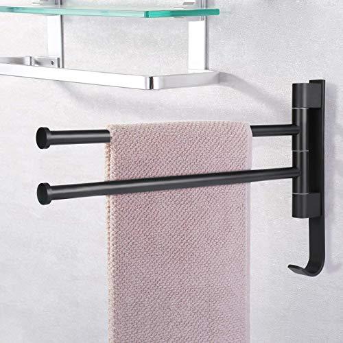 selbstklebend Handtuchhalter ohne Bohren Handtuchstange 40 CM Badetuchhalter 2 Arme Bad Halterung mit Haken im Badzimmer Küche - schwarz