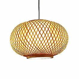 WANGYAN Pendentif d'art en rotin de Style Chinois Paravent en Osier de Bambou Chandelier en Bambou Naturel E27 Lampe à…