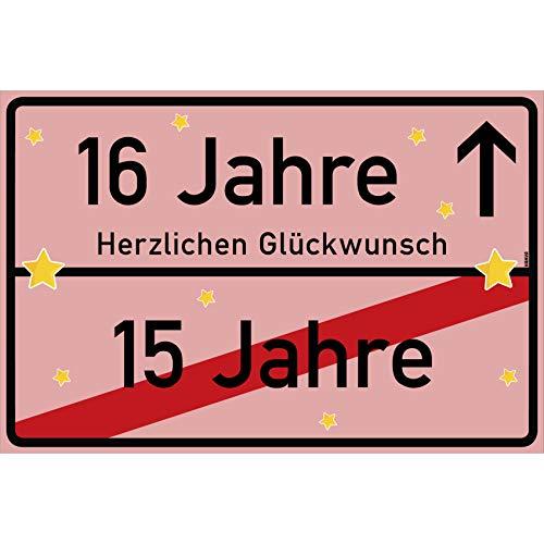 vanva 16 Jahre Party Deko Schild für den 16 Geburtstag Mädchen und Jungen Herzlichen Glückwunsch Spruch im Ortsschild Design Rosa