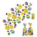 LIHAO 100 Pezzi Sacchetti Regalo di Pasqua in Cellophane, Sacchetti Trasparenti per Confezioni Alimenti Biscotti