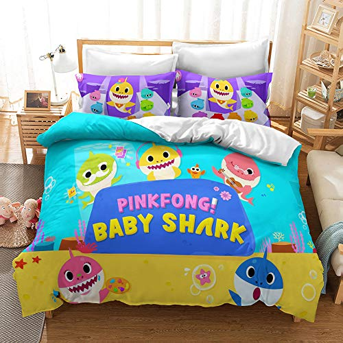 Meiju 3D Microfiber Duvet Cover Set for Children, Cartoon Shark Pattern Bedding Set for Single Double King Size Easy Care Bed Quilt Covers with Pillowcases (200x200cm,BABY SHARK B)