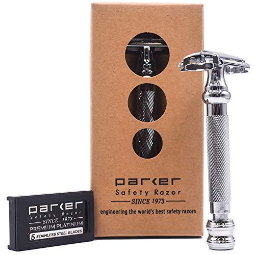 Parker Safety Razor Parker 99R - Stiel-Schwergewichts-Schmetterling Öffnen Safety Razor & 5 Premium Platinum Double Rasierklingen