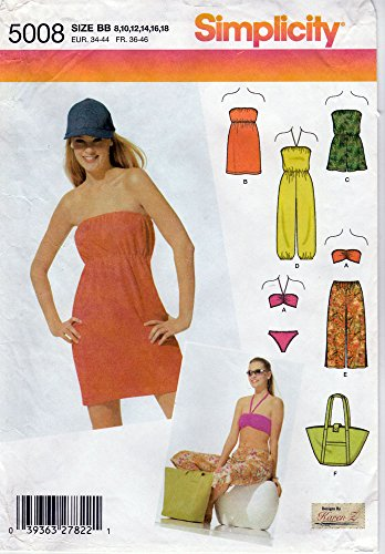 Simplicity Sewing Pattern 5008 c.2004 Misses' Beach Cover-ups, Pants, Tote, and Swimsuit, Size BB (8-18)