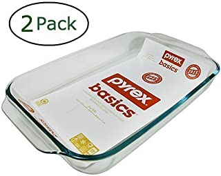 Pyrex Basics 3 Quart Oblong Glass Baking Dish, Clear 9 x 13 inch (Set of 2)