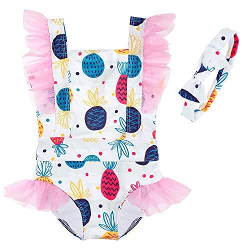 Costume da Bagno per Ragazze Bambina Costume Intero Spiaggia Mare con Archetto Stampa Bianca 100cm