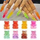 FASHEWELRY 20Pcs 3D Gummy Bear Nail Art Charms Resin Colorful Flatback Candy Bear Cabochon for DIY Nail Art Decoration Mobile Phone Case Accessories, 18x11x8mm