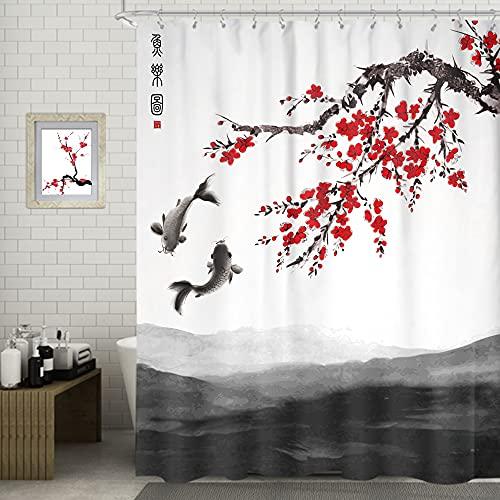 SVBright Duschvorhang, Kirschblüte, rote Pflaume, 183 x 183 cm, chinesische japanische Tintenmalerei, Kunst, 12 Haken, Polyester, wasserdichter Stoff, Badezimmer, Badewannenpaneele