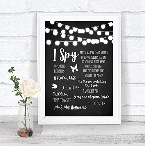 Chalk Style Black & White Lights I Spy Disposable Camera Wedding Sign